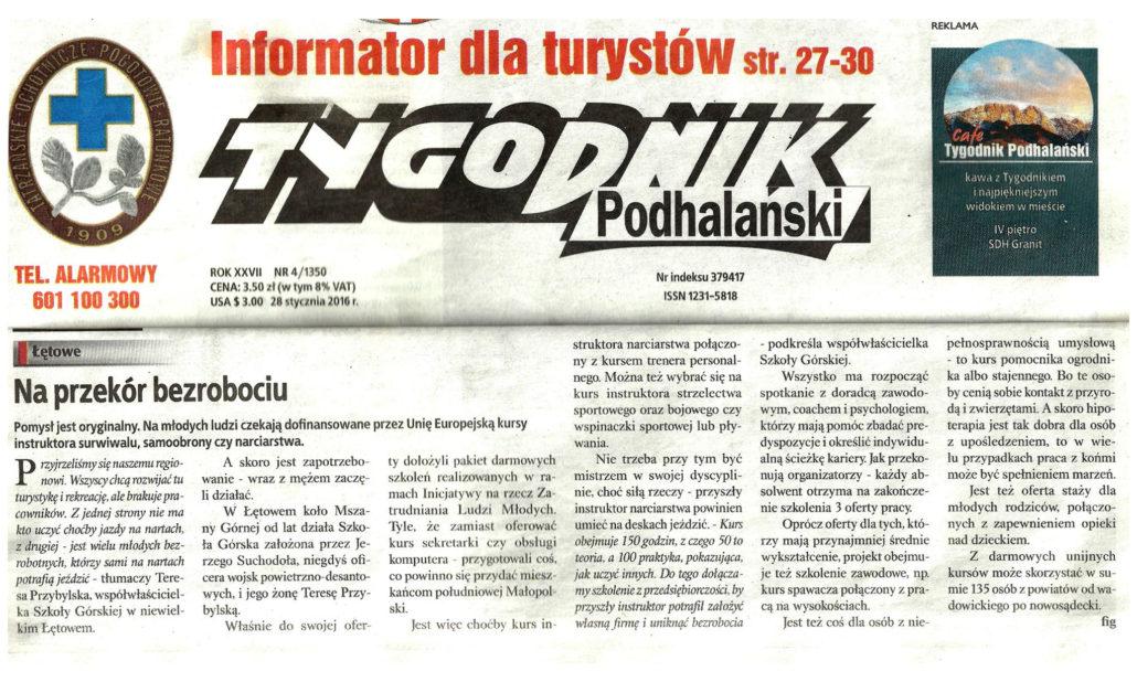 Napisali onas - zrzut ekranu Tygodnika Podhalańskiego